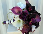 Plum Wedding bouquet real touch calla lily orchid bridal bouquet