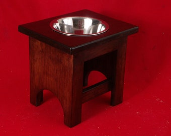 Elevated Large Dog Feeder, Single Bowl, 12 Inchs High, Solid Oak Wood, Two Quart, Free Name & Stain