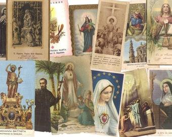 5 Vintage Religious Saints Cards - Paper ephemera - Collage supplies - Holy cards