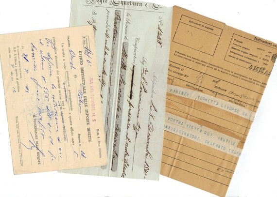 4 Antique documents for your scrapbooking or collage projects - Vintage paper pack from Italy