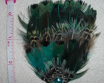 Turquoise Pheasant Fascinator with Filigree and Flatback - Choose headband, barrette, comb or clip