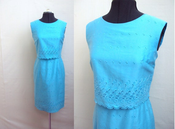 SALE 1960s Turquoise blue cotton broderie anglais wiggle dress, by Carnegie - S M
