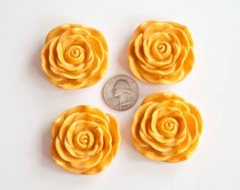 45mm Golden Yellow Flower Chunky Necklace Beads 4 ct
