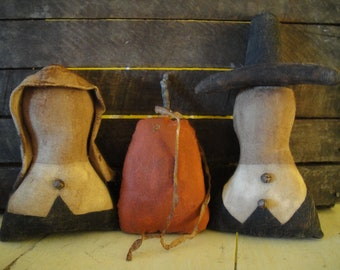 Pilgrim and pumpkin cupboard dolls primitive handmade set of 3