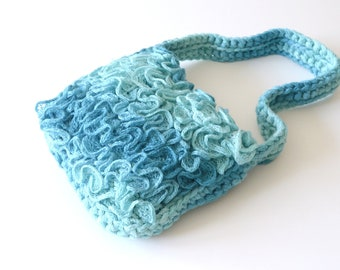 Turquoise handbag knit turquoise purse, Small shoulder bag Summer knit purse