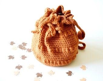 Tangerine purse, crochet little bag Shoulder wool purse for winter