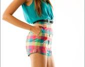 Jewel Tone Checkerboard Plain Kitschy High Waist Pin Up Shorts--XS/S