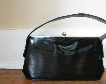 Vintage Black Patent Leather Handbag Purse