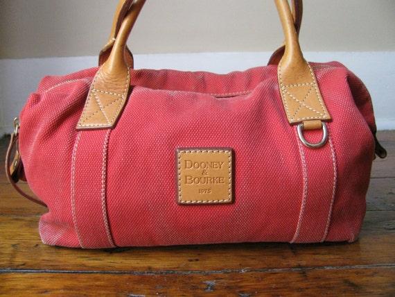 Vintage Red Duffle Bag Style Dooney & Bourke Handbag Purse