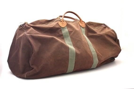 vintage l l bean canvas leather duffel bag