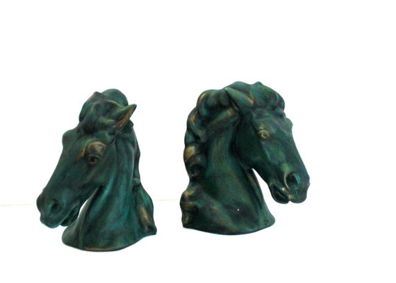 Vintage STALLION Horse Head Bookends