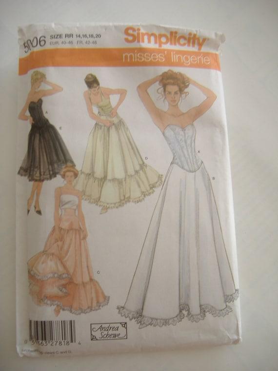 Simplicity 5006, Misses' Lingerie Pattern, Sizes 14,16,18,20, Uncut