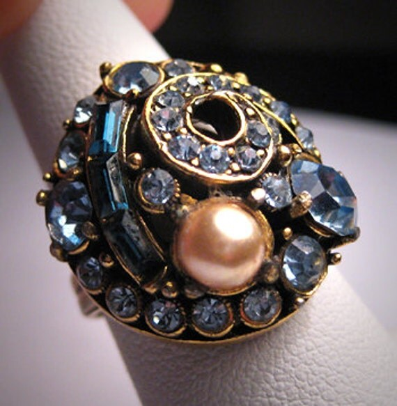 Vintage Hollycraft Sapphire Pearl Aquamarine Ring Sgned ON SALE