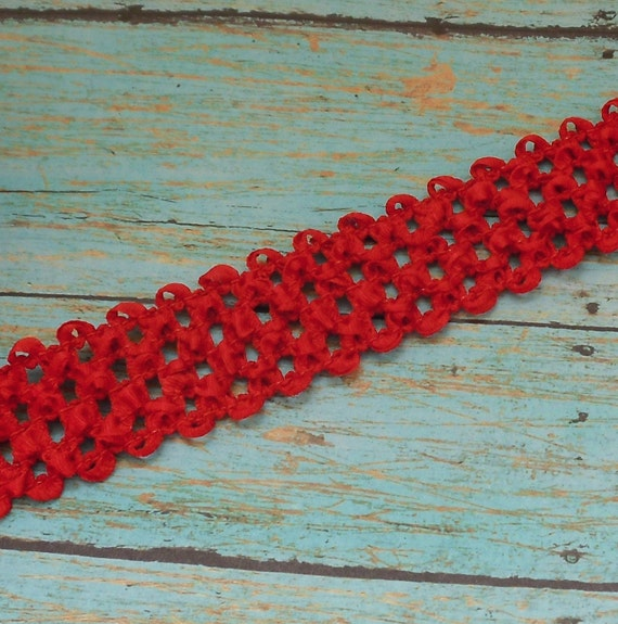 RED ELASTIC Waffle Crochet Ribbon - 2 Yards X 1.5 Inches - for Crafts, Headbands, Couture Ribbon