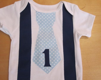 First/1st  Birthday Bodysuit with Tie and Suspenders