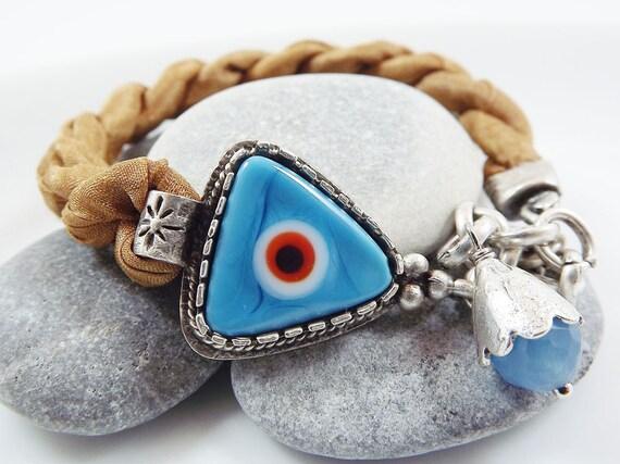 Lucky Triangular  Evil Eye Turkish Silk Bracelet - Silver Plated, Turquoise Blue Artisan Glass Bead, Cinnamon Mustard Silk  - Summer Fashion