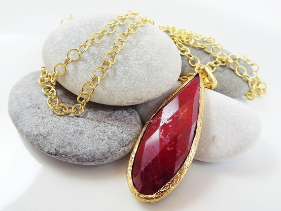 Faceted Red Ruby Teardrop Pendant Long Necklace