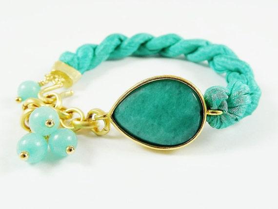 Aqua Jade Silk Turkish Bracelet - Teardrop Gold Plated - Fall Fashion