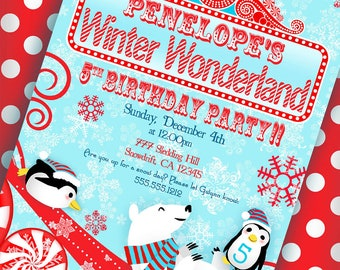 Winter Wonderland Invitation Penguin Party Polar Bear Party - Aqua and Red Collection - Gwynn Wasson Designs PRINTABLES
