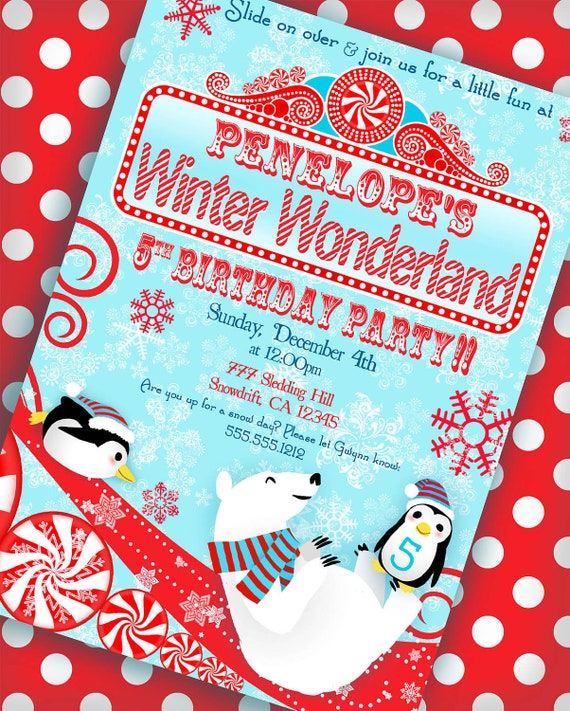 Items Similar To Winter Wonderland Invitation Penguin