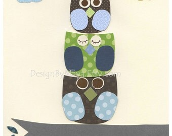 Baby boy room, Nursery wall art, Decor Art for Kids, baby owl..Blue Green cream brown....match the colors of Dwell Studio Owl Sky bedding