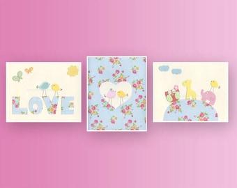 Baby Girl Room Ideas: Nursery wall Art Print, Baby Girl Room Decor / Love Bird / woodland / dottie /Rose art / Set of 3 prints // Hayley set