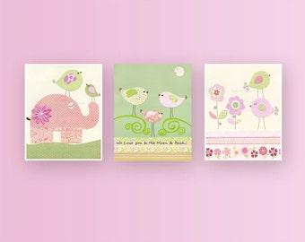 Baby girl, Nursery wall art print, Baby room decor, love birds, elephant, set of 3 8x10, pink and green nursery