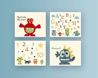 Baby room wall art, Nursery Art Decor, Kids Print, monsters, set of 3 8x10 prints, choose YOUR monsters