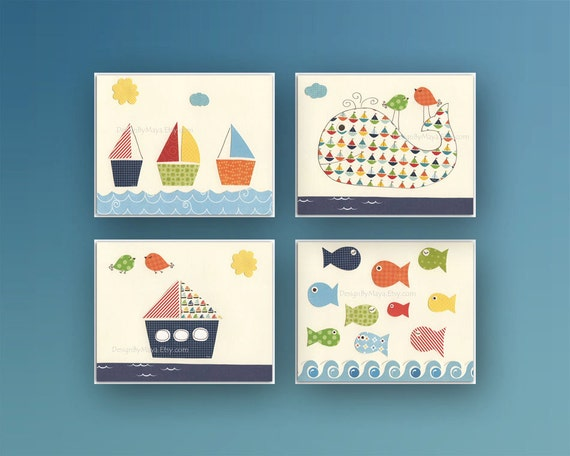 Nautical Nursery Decor: Set of 4 prints Nautical Nursery Prints For Baby Boy Nursery Room Decor - Nautical Decor For Nursery Room Whale Ship
