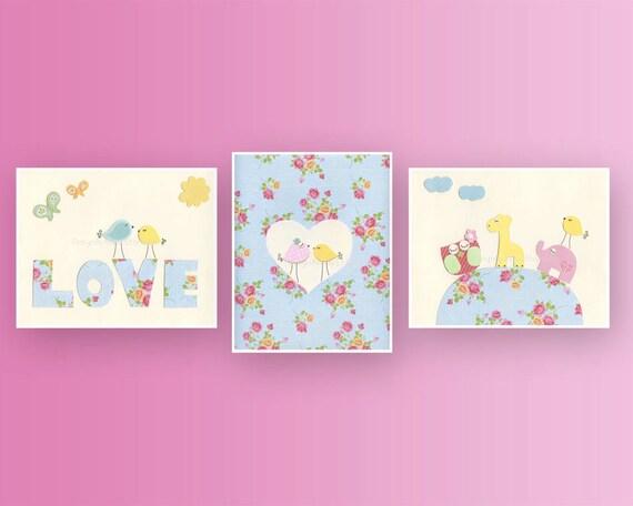 Baby girl room ideas nursery wall art print baby girl room for Girls wall art
