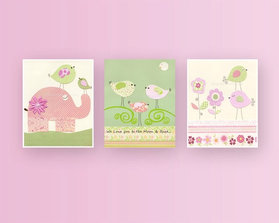 Baby girl, Nursery wall art print, Baby room decor, love birds, elephant, set of 3 prints, pink and green nursery, baby girl room decor art