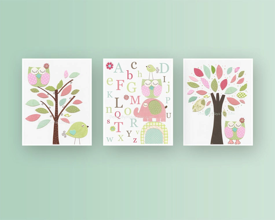 Girl nursery d cor girl nursery art baby girl nursery wall for Pink wall art