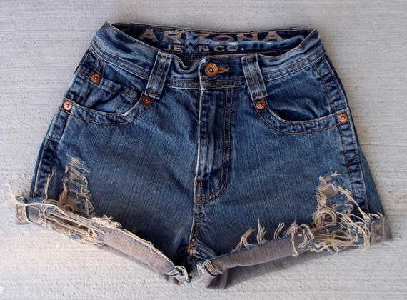 "CLEARANCE SALE - Distressed Shorts High Waist Slashed Denim Cut Offs - US Size 1/2 - 24"" Waist   -  Priority Shipping"