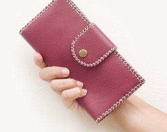 SALE, Handmade Leather Women Folded Wallet in Red with Edge Lacing
