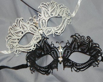 Laser Cut Masquerade Mask - with Rhinestone Accents