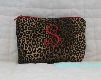 Personalized Padded Cosmetic Bag/ Gadget Case - Leopard/ Red