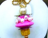 Hot Pink Ceiling Fan/ Light Pull, light pull chain, handcrafted by gviolet, The Shabby Chic Collection