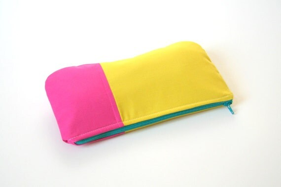 pink and yellow clutch /neon /  summer fashion / bridesmaids / cosmetic bag / yellow / pink / pencil pouch / color block
