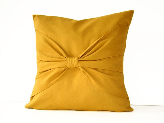 Decorative Pillow With Bow : bow pillow in mustard linen / 16 decorative pillow cover
