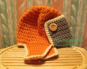 New - Buggs - Crochet Aviator/Bomber Hat in Pumpkin, Taupe, and Cream w/ Wood Button Accents