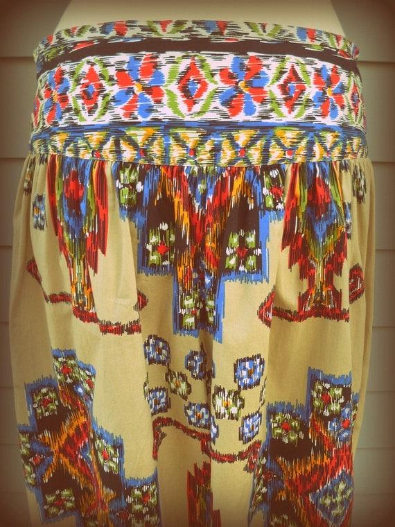 Southwestern print midi skirt - Native American tribal print with rich bold colors