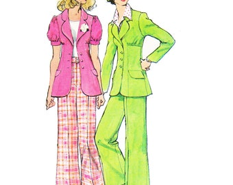 70s Misses Suit Sewing Pattern/ Vintage 1970s UNCUT Simplicity Misses Unlined Jacket and Pants Sewing Pattern 5642/ Size 10