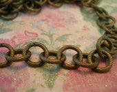 Vintage Style Antique Brass Plated chain 10mm round link chain
