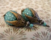 BD330 1 piece Retro Large Faux Green Turquoise Acrylic Rhinestone Pendant Dangle 18mm bead capped with Antique bronze caps