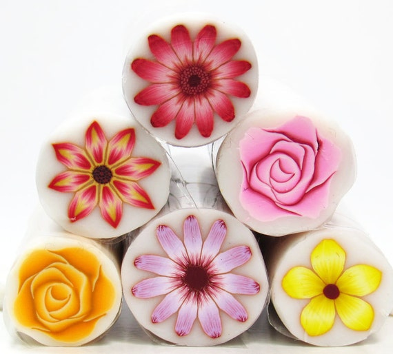 Sale set of 6 Polymer Clay Millefiori Flower canes