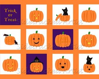 INSTANT Download Halloween Jack-o-Lantern one inch square DIGITAL Images / No. 263L