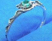 Colombian Emerald, Mythological Stone Protector Ring, May birthstone, Recycled Sterling Silver