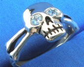 Aquamarine Skull and Cross Bones Ring, March birthstone, Recycled Sterling Silver