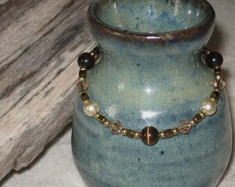 Faux Pearl, Cat's Eye, and Swarovski Crystal Bracelet