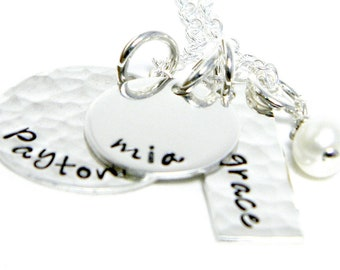 Personalized Necklace - Mom Necklace - Hand Stamped Jewelry